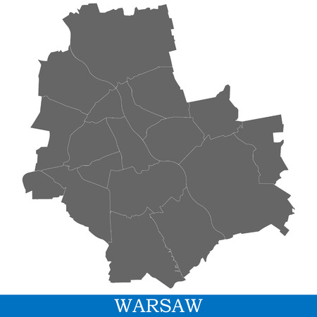 High Quality map of Warsaw is a city in Poland, with borders of districts
