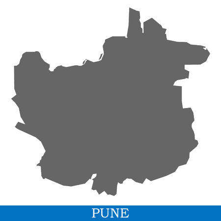 High Quality map of Pune is a city of India, with borders of districts