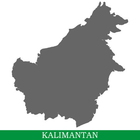High quality map of Kalimantan or Borneo is the island of Indonesia, Malaysia and Brunei Stock Illustratie