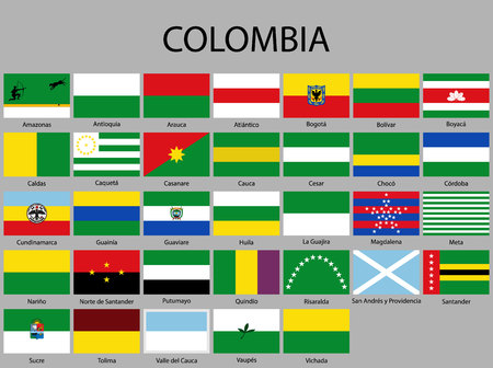 all Flags of departments of Colombia. Vector illustraion