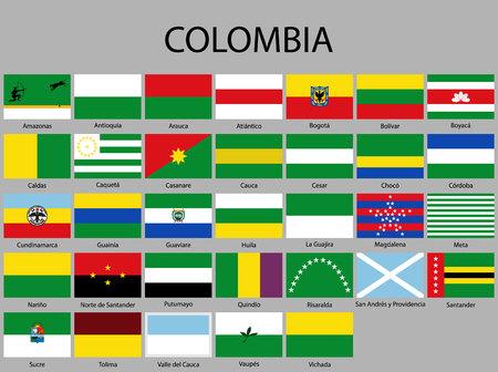 tous les drapeaux des départements de la Colombie. Illustration vectorielle