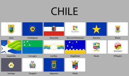 all Flags of regions of Chile. Vector illustraion Ilustração