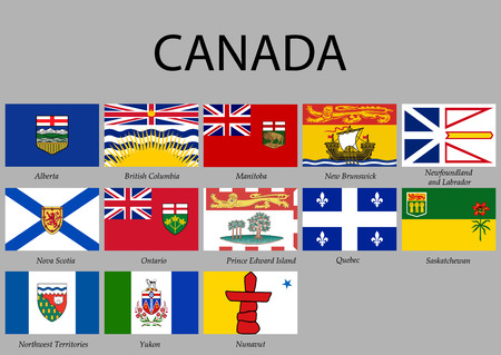 all Flags provinces of Canada. Vector illustraion
