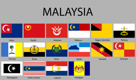 all Flags of regions of Malaysia. Vector illustraion Illustration