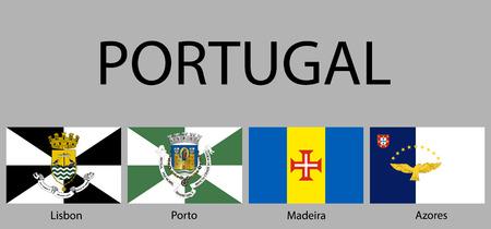 Flaggen der Regionen Portugals. Vektorillustration