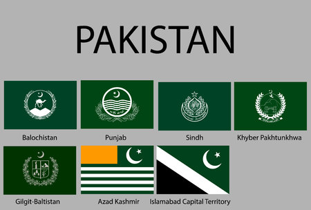 all Flags of regions of Pakistan. Vector illustraion