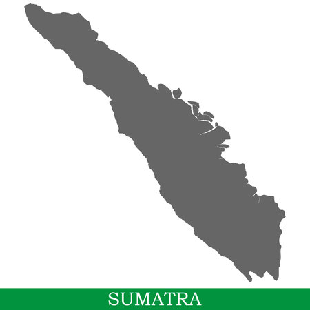 High quality map of Sumatra is the island of Indonesia Vetores