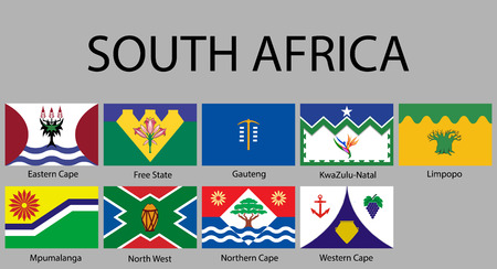 all Flags of regions of South Africa. Vector illustraion