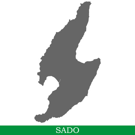 High quality map of Sado is the island of Japan