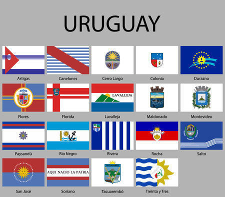 all Flags of departments of Uruguay. Vector illustraion