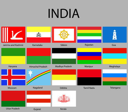 Flags states of India. Vector illustraion. flag set