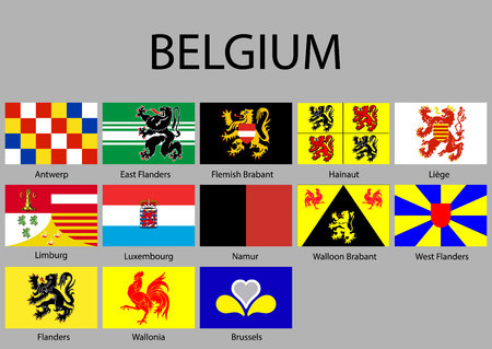 all Flags of regions of Belgium. Vector illustraion Vector Illustratie