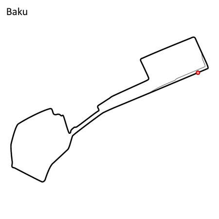 Baku grand prix race track. circuit for motorsport and autosport. Vector illustration.