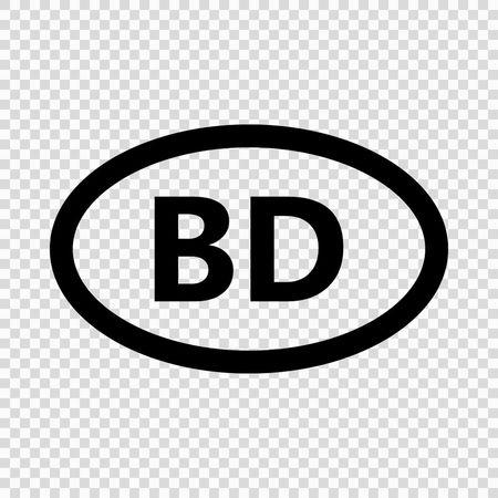 Bangladesh code symbol. short country name. Domain name