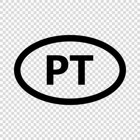 Portugal code symbol. short country name. Domain name