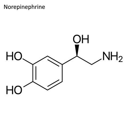 Skeletal formula. stimulant molecule Vector illustration