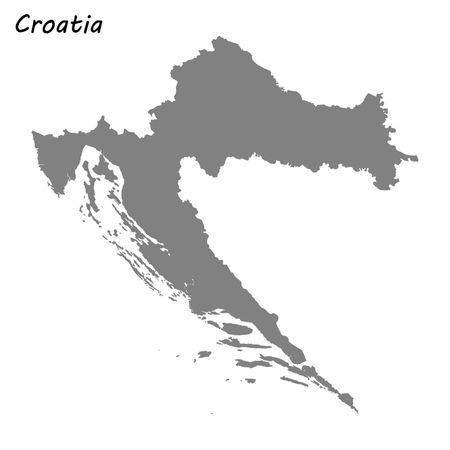 High quality map of Croatia . Vector illustration Illustration