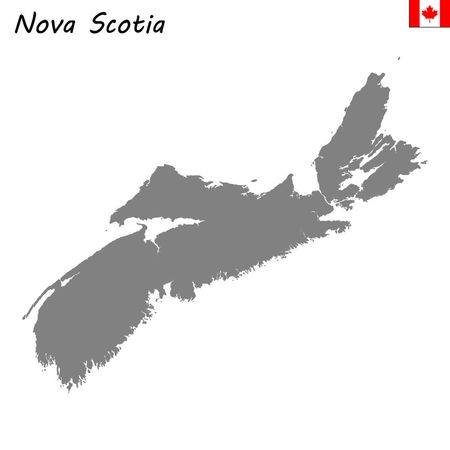 High Quality map of Nova Scotia is a province of Canada