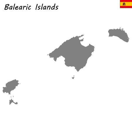 High Quality map autonomous community of Spain. Balearic Islands