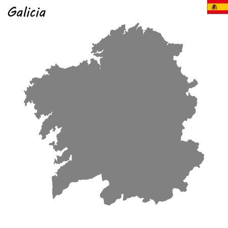 High Quality map autonomous community of Spain. Galicia Illustration
