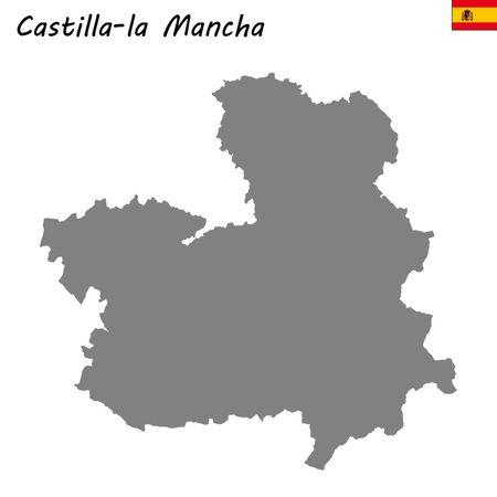 High Quality map autonomous community of Spain. Castilla - la Mancha Ilustração