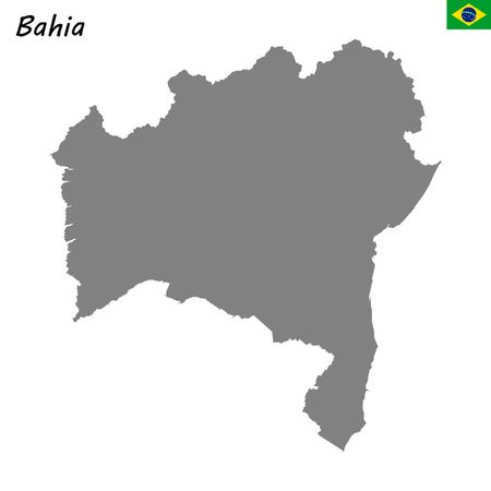 High Quality map of Bahia is a state of Brazil