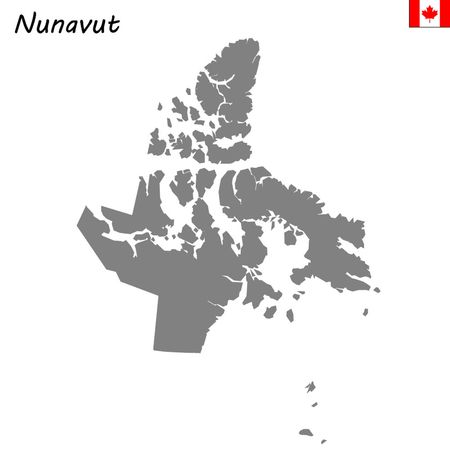 High Quality map of Nunavut is a province of Canada Illustration