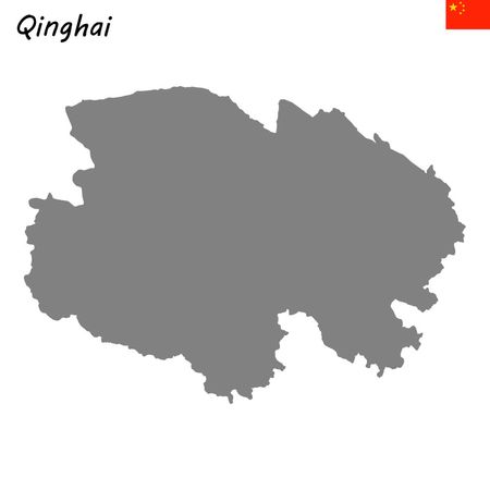 High Quality map of Qinghai is a province of China  イラスト・ベクター素材