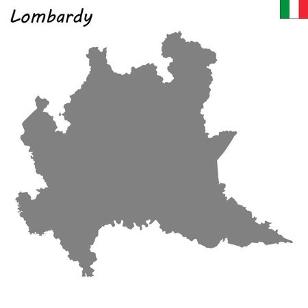 High Quality map of Lombardy is a region of Italy