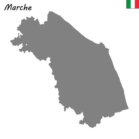 High Quality map of Marches is a region of Italy