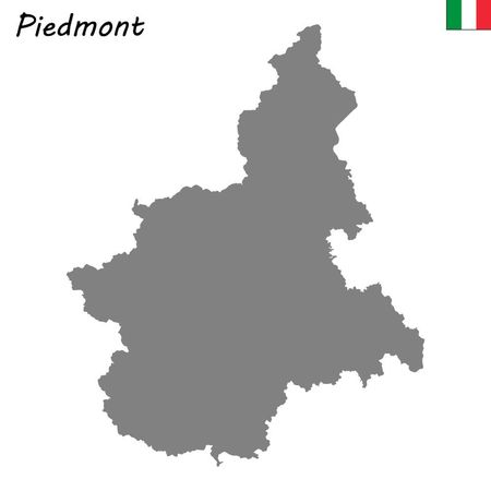 High Quality map of Piedmont is a region of Italy Ilustrace