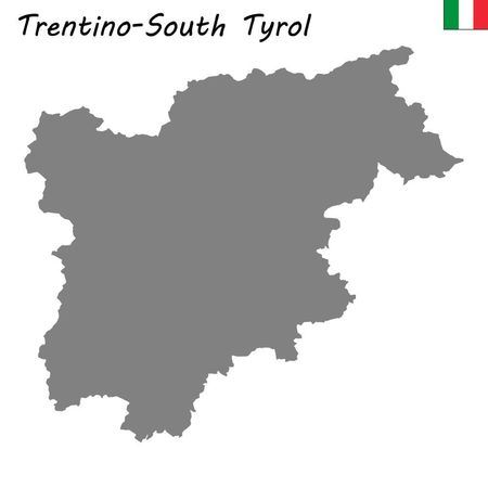 High Quality map of Trentino-South Tyrol is a region of Italy