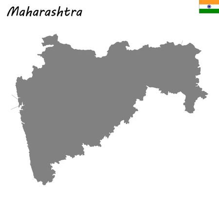 High Quality map of Maharashtra is a state of India Vector Illustration