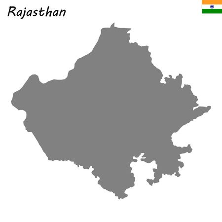 High Quality map of Rajasthan is a state of India Иллюстрация