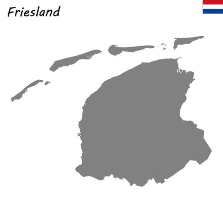 High Quality map province of Netherlands. Friesland