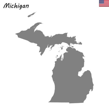 High Quality map state of United States. Michigan