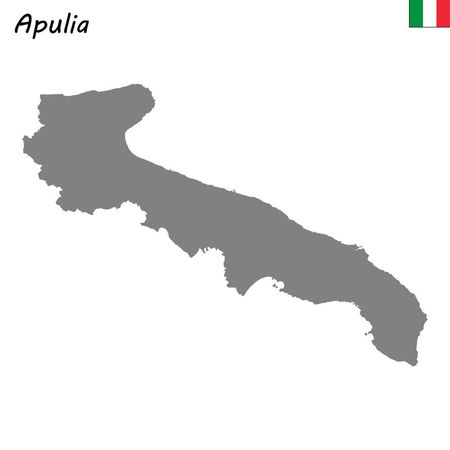 High Quality map of Apulia is a region of Italy Ilustrace