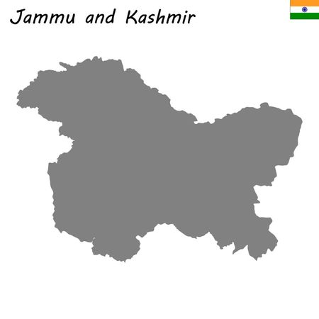 High Quality map of Jammu and Kashmir is a state of India  イラスト・ベクター素材