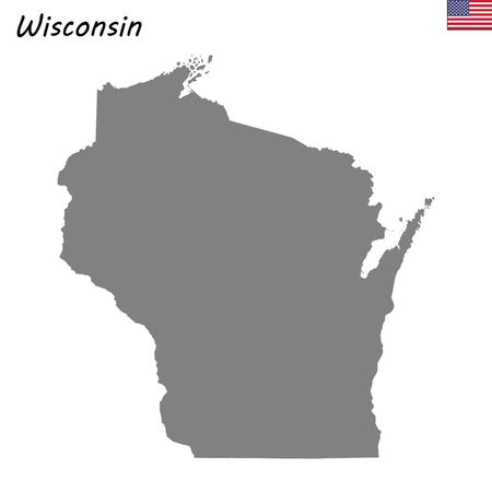 High Quality map state of United States. Wisconsin
