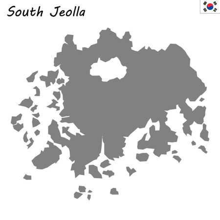 High Quality map province of South Korea. South Jeolla Ilustrace