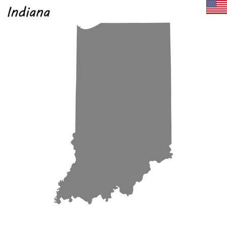 High Quality map state of United States. Indiana