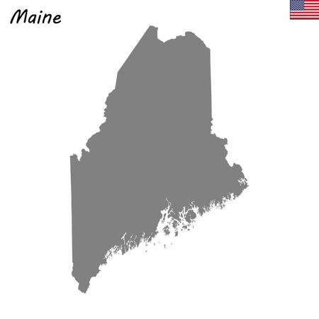 High Quality map state of United States. Maine