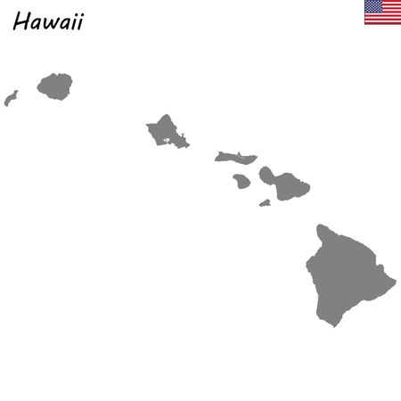High Quality map state of United States. Hawaii