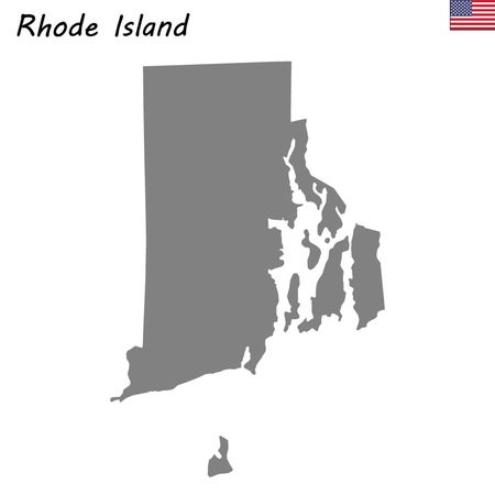 High Quality map state of United States. Rhode Island