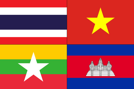Vector illustration of different countries flags set. Colorful background made of assorted flags