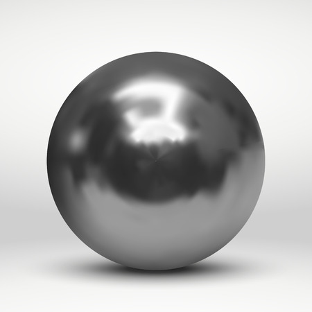Vector illustration with silver ball over white background Stock Illustratie