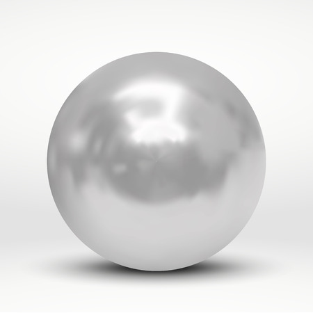 Vector illustration with silver ball over white background Illustration