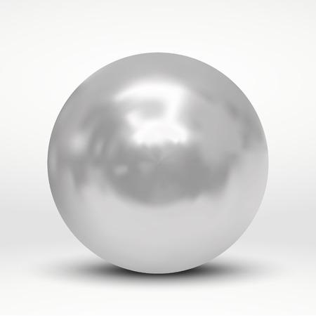 Vectorillustratie met zilveren bal op witte achtergrond