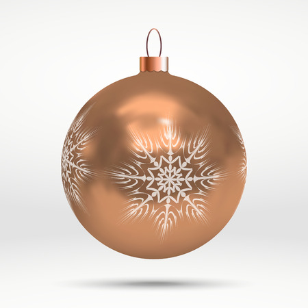 Vector illustration with decorated Christmas trees ball over white background