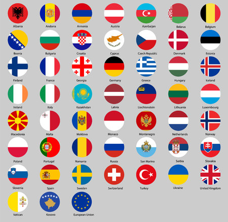 Vector illustration of different countries flags set. All Round flags Europe